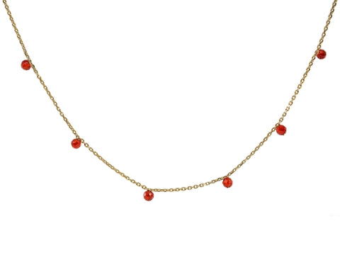 Golden Mini Red Agate Stone Necklace - Free Shipping
