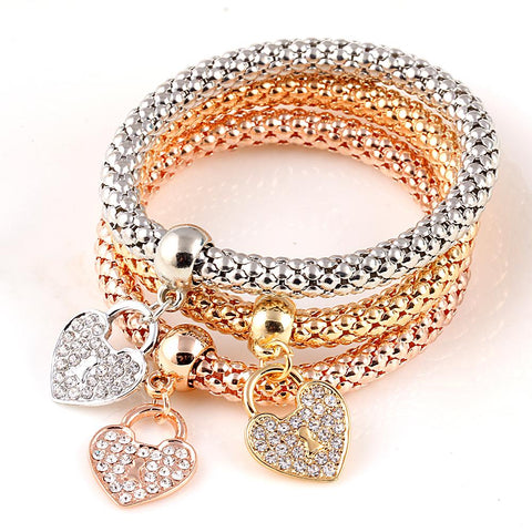 Womens 3Pc Gold Color Heart Charm Elastic Bracelets