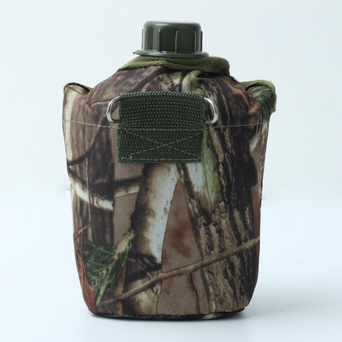 Camouflage Cloth Army Green Plastic Sports Water Bottle