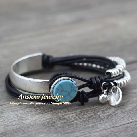 Unisex New Design Summer Style Unique Silver Beads Leather Bracelet