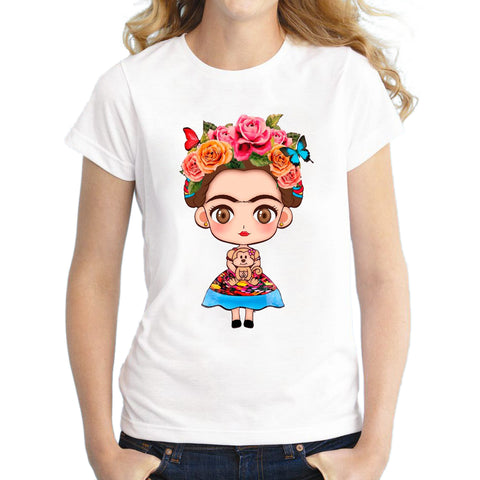 New 2018 Hot Cartoon Mexican Frida Kahlo T Shirt - Free Shipping