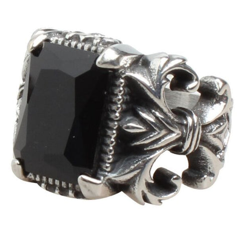 Men's 2018 Cool Fleur De Lis Red or Black Stone Ring - Ships Free