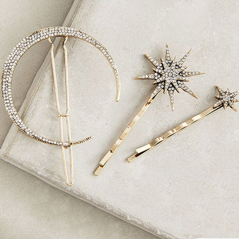 Hair Jewelry ( 3 Pcs / Set ) Star Moon Rhinestone Hair Clip Hair Accessories