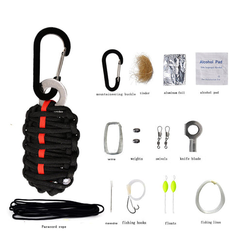 EDC Outdoor Multipurpose Survival Tool Paracord Fishing Tools Carbinner for Camp Hike