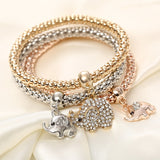 Womens New 3Pcs/set Multilayer Bracelets Elephant Charm Bracelets