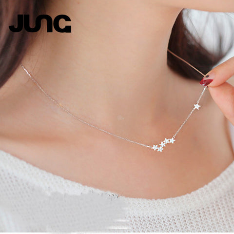 Womens Crystal Star Necklace in . 925 Sterling Silver - Free Shipping