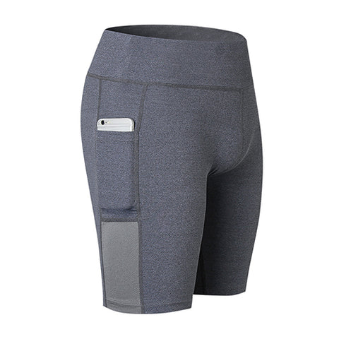 Womens  High Elastic Running Shorts With Side Pocket Fitness Shorts - Ship Free