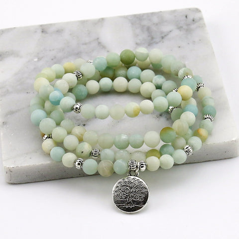 Unisex 6mm Frosted Amazonite Bracelet Prayer Beads Tree of Life
