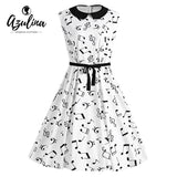 Womens Cute Plus Size Musical Notes Printed Belted Vintage Dress