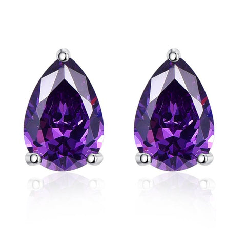 Womens 12.8ct Amethyst Earrings set in .925 Sterling Silver - Free Shipping