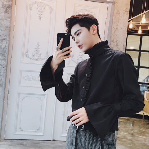 Men's  Gothic Shirts - White Flare Sleeves Shirts- Stand Collar Luxury Dress Shirts -Night Club Outfits Tuxedo