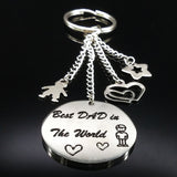 Keychain for Best DAD in The World Silver Color Stainless Steel Key chain
