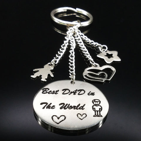 2018 New Best DAD in The World Silver Color Stainless Steel Key chain