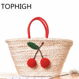 Womens Very Cute Cherry Straw Tote Bag - Big - Perfect for Summer