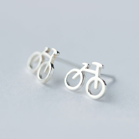 Womens  .925 Sterling Silver Bike Earrings