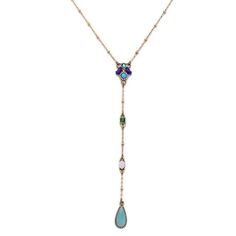 Women's Fresh Water Drop Crystal Long Chain Necklace - 2018 - Ships Free