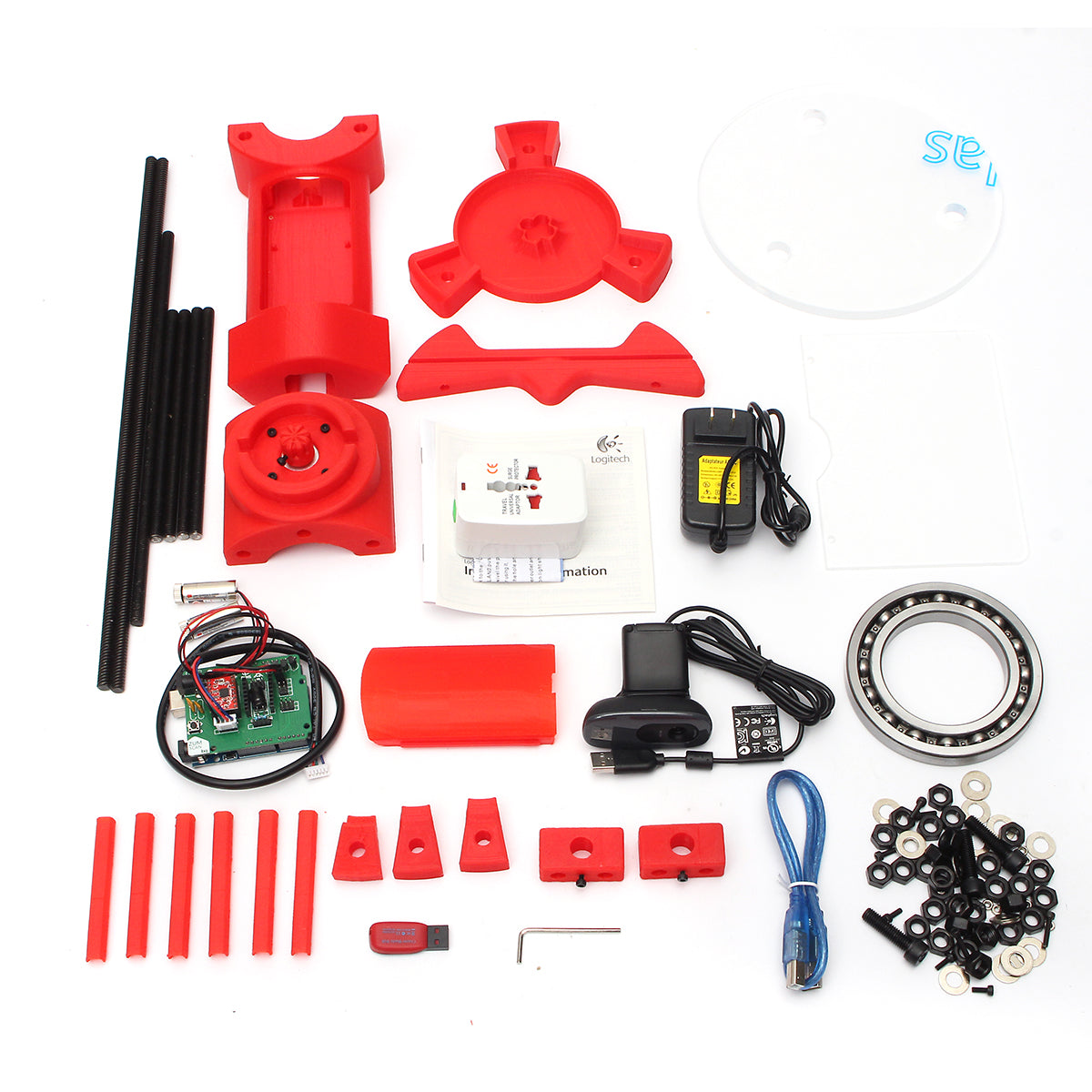 Red DIY 3D Scanner Adapter Plate For Ciclop 3D Printer