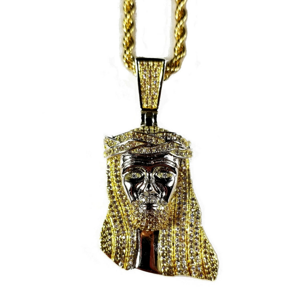 jesus angel finish in and silver chain pendant itm lab xl gold white finished combo piece iced diamond fully