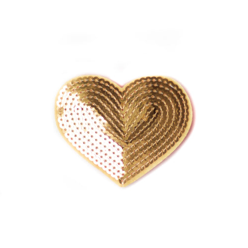 Gold Sequin Heart Clip