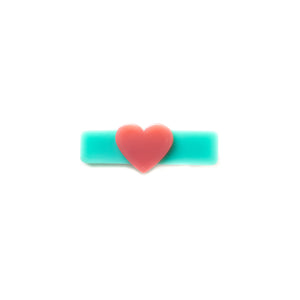Green and Pink Heart Clip