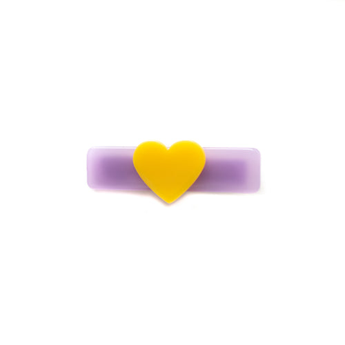 Purple and Yellow Heart Clip