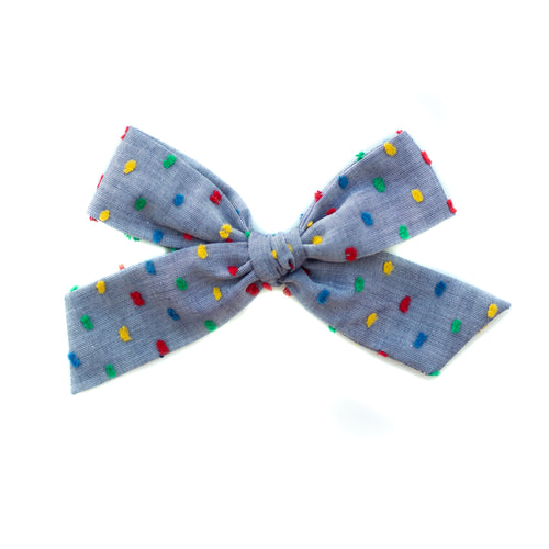 Chambray Rainbow Swiss Dot Midi Schoolgirl