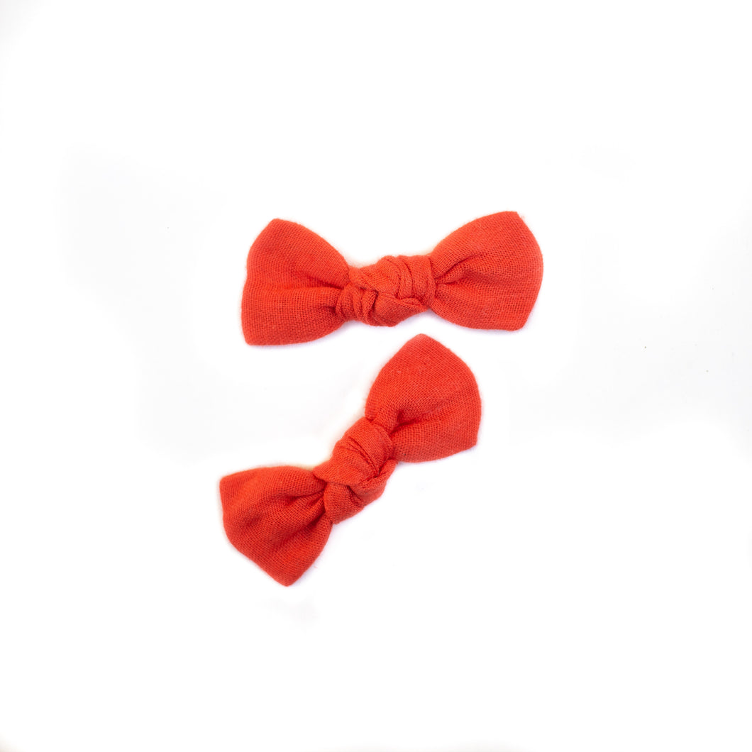 Persimmon Knot Bow Pigtail Set