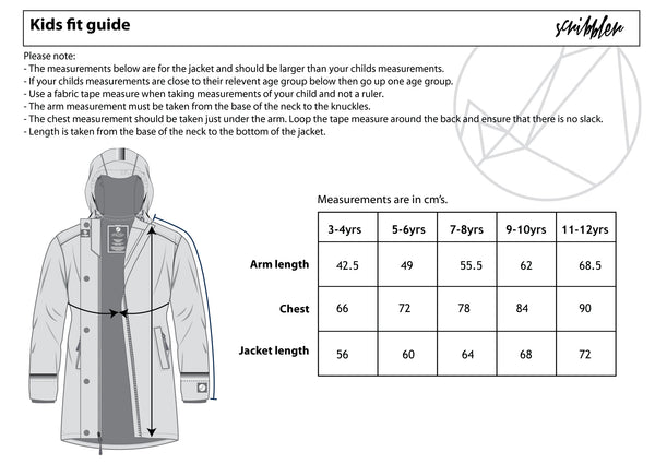 Scribbler kids girls boys raincoat rain jacket size guide