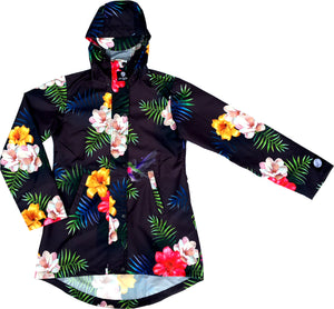 Scribbler amazonas shell womens ladies raincoat waterproof New Zealand NZ black floral colourful women's