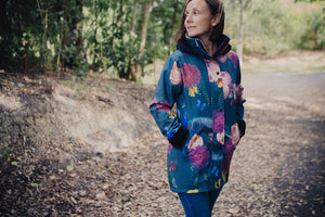 Scribbler teal kowhai womens ladies raincoat New Zealand NZ waterproof women's rain jacket floral colourful teal peacock butterfly peonie baroque opulent winter