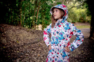 Scribbler kids waterproof coat winter coat snow rain warm fantail NZ New Zealand girls boys white colourful bright