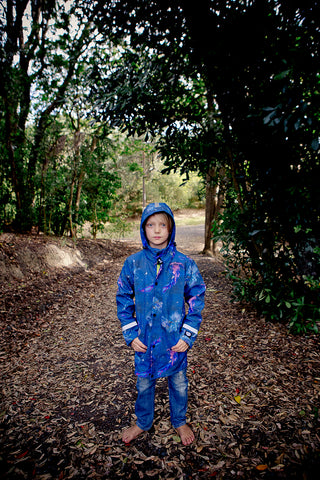 Kids galactic ocean fleece bonded waterproof coat