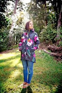 Scribbler winter coat womens ladies raincoat New Zealand NZ waterproof women's rain jacket floral colourful black tropical