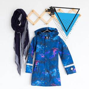 Scribbler kids waterproof coat winter coat snow rain warm galaxy space ocean jellyfish octopus NZ New Zealand girls boys blue pink colourful bright