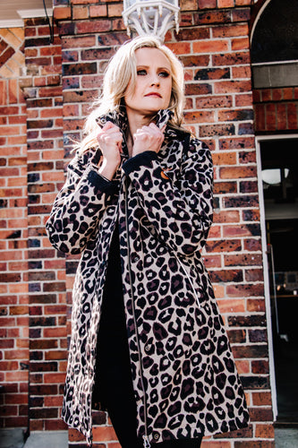 leopard print winter raincoat Scribbler