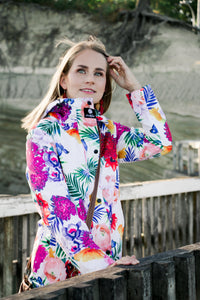 ladies raincoat nz Scribbler Gear New Zealand rain jacket womens floral coat tropical print waterproof bright designer NZ design