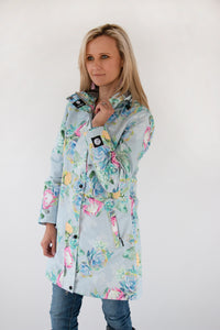 Scribbler ladies raincoat NZ rain coat rain jacket womens floral waterproof lined print protea grey light blue longer length long NZ design New Zealand designer colour bright