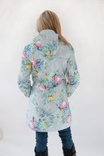 Load image into Gallery viewer, Scribbler ladies raincoat NZ rain coat rain jacket womens floral waterproof lined print protea grey light blue longer length long NZ design New Zealand designer colour bright