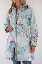 Load image into Gallery viewer, Scribbler ladies raincoat NZ rain coat rain jacket womens floral waterproof lined print protea grey light blue longer length long NZ design New Zealand designer colour bright two-way zip
