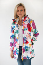 Load image into Gallery viewer, Scribbler Gear New Zealand ladies raincoat nz rain jacket womens floral coat tropical print waterproof bright