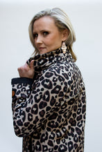 Load image into Gallery viewer, leopard print winter raincoat Scribbler hood removed