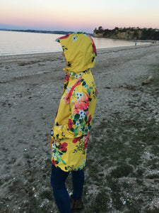 Scribbler floral colourful waterproof raincoat womens rain jacket yellow NZ New Zealand ladies women's hood