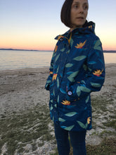 Load image into Gallery viewer, Scribbler waterproof ladies womens women's raincoat rain jacket blue denim floral strelitzia bird of paradise colourful NZ New Zealand