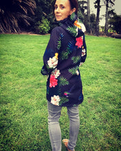 Load image into Gallery viewer, Scribbler Gear Amazonas fleece bonded coat New Zealand design raincoat colourful black floral waterproof warm coat ladies
