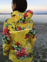 Load image into Gallery viewer, Scribbler floral colourful waterproof raincoat womens rain jacket yellow NZ New Zealand ladies women's reflective strip