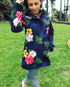 Scribbler Gear Amazonas fleece bonded coat New Zealand design raincoat colourful black floral waterproof warm coat ladies