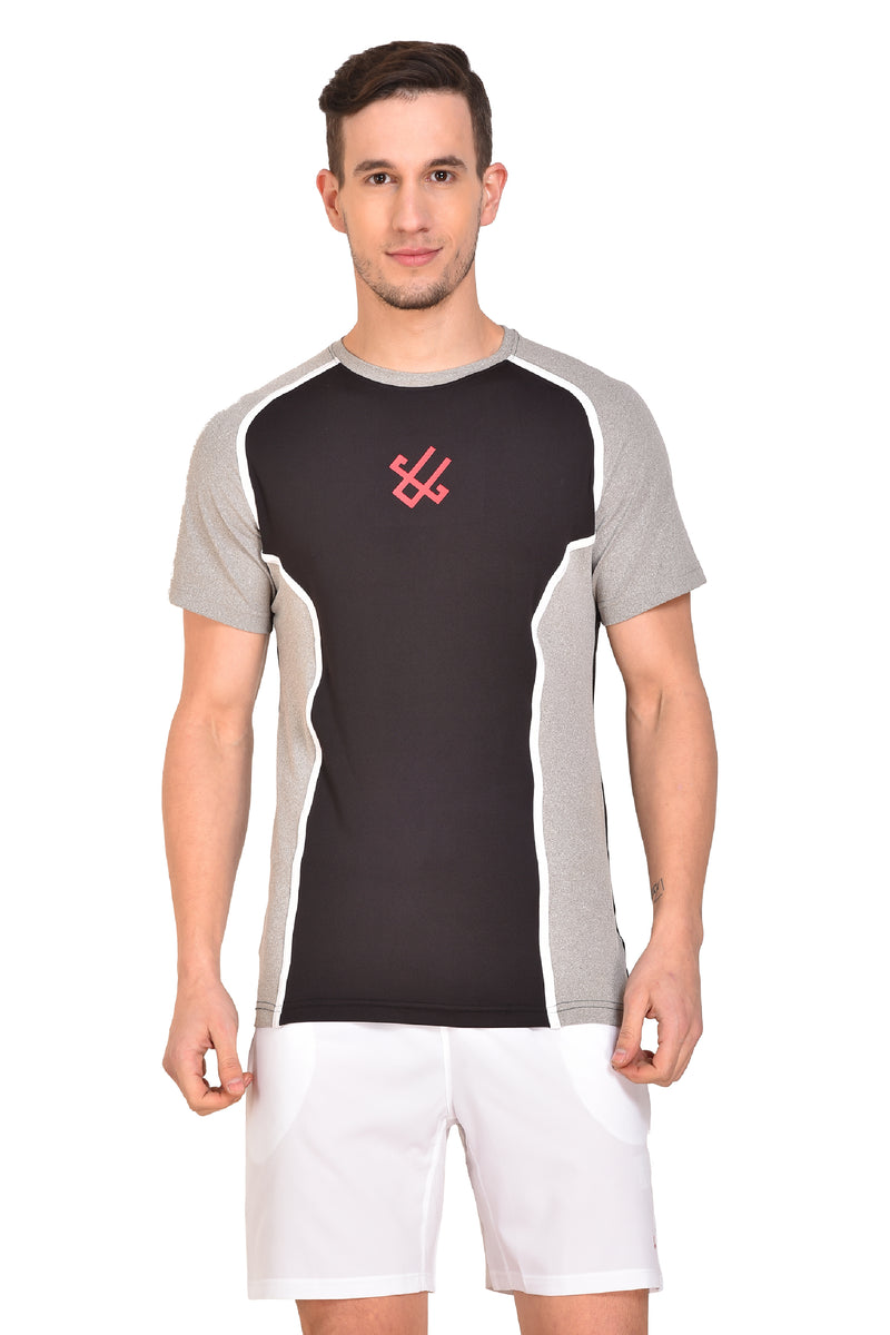 Red Cheri Compression Fit Tee - Black