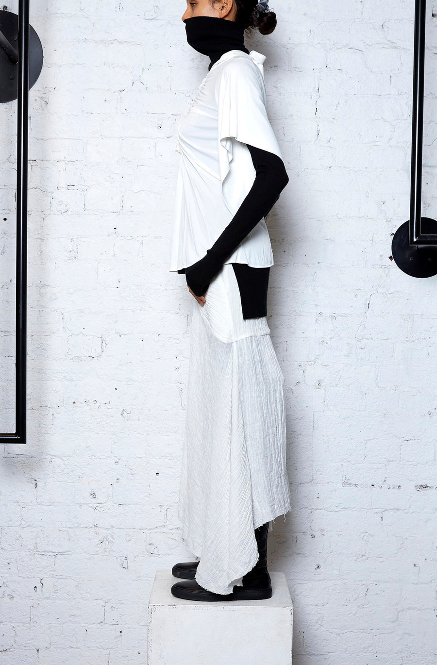 Crushed Linen Drape Skirt - White