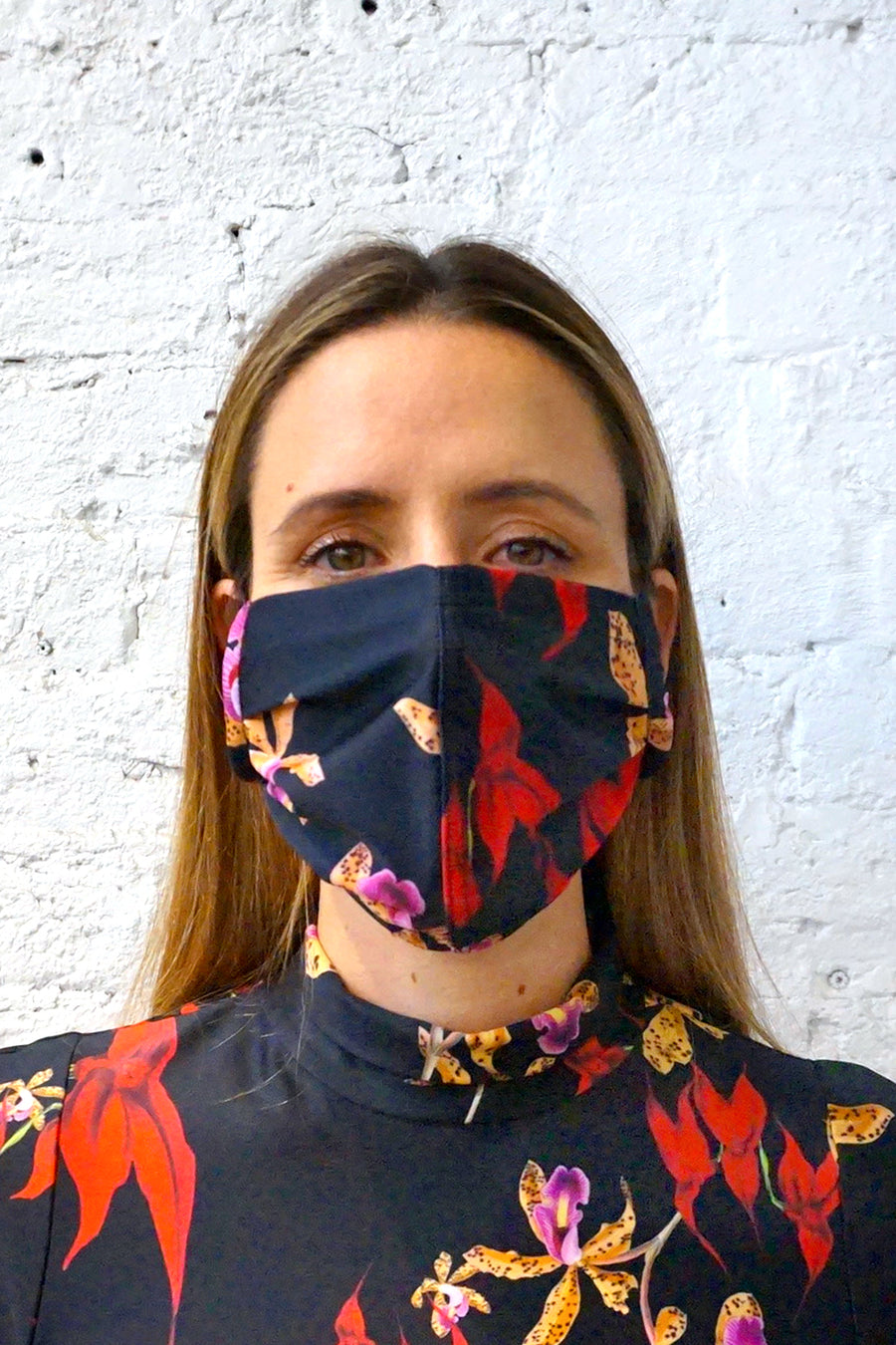 Remnant Mask - Single Layer Jersey Red/Black Floral