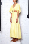 *Exclusive* Linen Knot Dress - Lemon